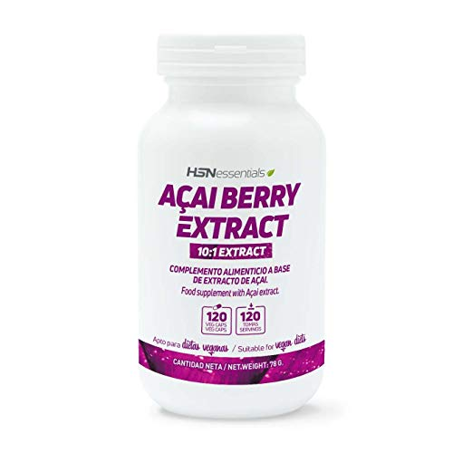 HSN Acai Berry 500mg | Extracto 10:1, Baya Acai | Potente Antioxidante Natural, Vegano, Sin Gluten, Sin Lactosa, 120 Cápsulas Vegetales