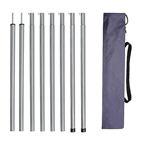 GROOFOO 2 X 2M / 2 X 1.7M Zeltstangen, Eisen Aufstellstange Einstellbare Tarpstange für Zelte Regenplane Campingzelt Sonnensegel Mehrzweck Stützstange (2x2M Silber)
