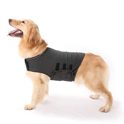 Anti-Angst-Hundejacke Hund Beruhigungsmantel Haustier Stressabbau Hemd Warme Beruhigungsweste Leichte Donner Hund Wickel Hund Angst Jacke (Dunkelgrau L)