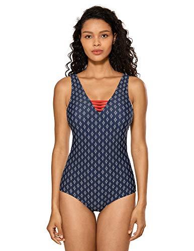 DELIMIRA Damen Einteiler Badeanzug V-Ausschnitt Schwimmanzug Figurformend Bademode Mehrfarbig #27 48