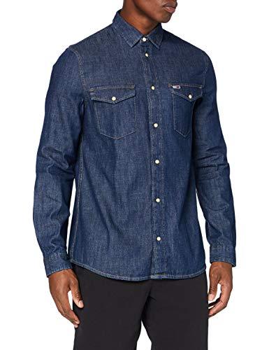 Tommy Jeans Herren TJM Western Denim Shirt Hemd, Dark Indigo, M