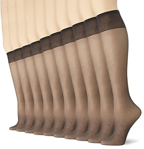 No Nonsense Women's Value Bundle Knee High Pantyhose with Sheer Toe 8 pairs per pack, Off Black, Plus