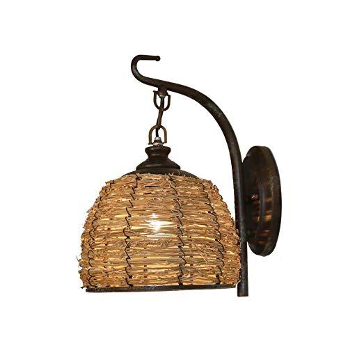 LongLong país de América Cama Antigua Hecha a Mano de Mimbre y ratán Desayuno Posada lámpara del Dormitorio de Bar Restaurante, Forjado lámpara de Pared de Hierro