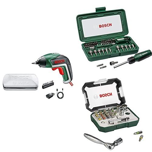 Bosch IXO Básico Destornillador, 3.6V, en caja de plástico + Set de 46 unidades para atornillar con atornillador manual + Set de 26 unidades para atornillar y llave de carraca