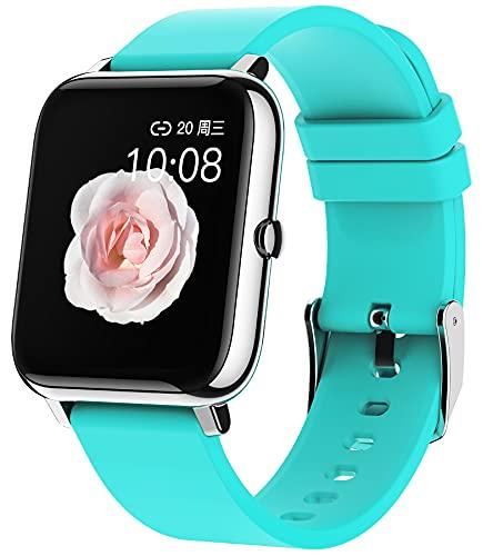Reloj inteligente con contador de calorías, para mujer, podómetro, pantalla personalizada, monitor de fitness, con función de WhatsApp, pulsómetro, medición de presión arterial, reloj deportivo, azul,