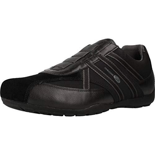 Geox Herren Slip-On Sneaker RAVEX, Männer Sneaker,Halbschuh,Sportschuh,Slipper,Gummizug,atmungsaktiv,SCHWARZ,43 EU / 9 UK