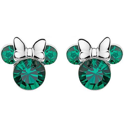 Disney - Pendientes de plata para niña con diseño de Mickey Mouse de Minnie Mouse, modelo E905162RMAYL