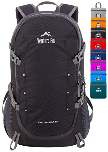 Venture Pal 40L Lightweight Packable Travel Hiking Backpack Daypack, A3 Black, One Size
