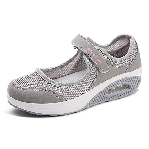 Hishoes Sandalias para Mujer Malla Merceditas Plataforma Ligero Zapatillas Sneaker Mary Jane Casual Zapatos de Deporte Mocasines Negros Verano 1-Gris 42EU