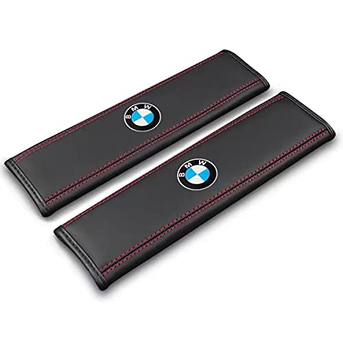 para BMW Kit de Cubierta de la Almohadilla del cinturón de Seguridad 2-Paquete cómodo de la Correa del cinturón de Seguridad del Coche Almohadilla de Hombro para Adultos y niños ? (BMW Logo)