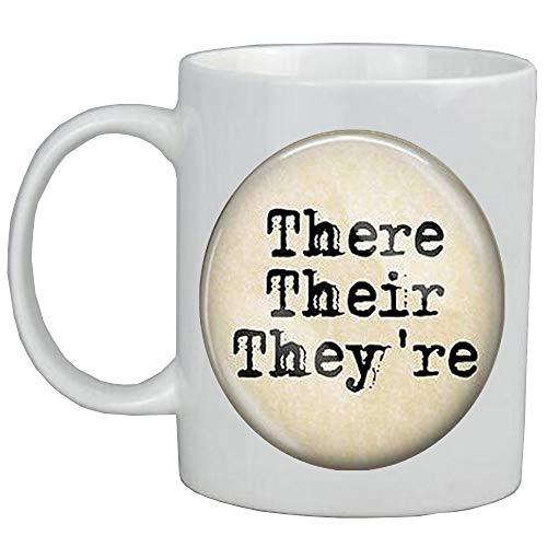 Taza de café con texto en inglés 'There Their Are Grammar' (texto en inglés) para profesor de inglés, gramática de nuez, editor de regalo, AS0185