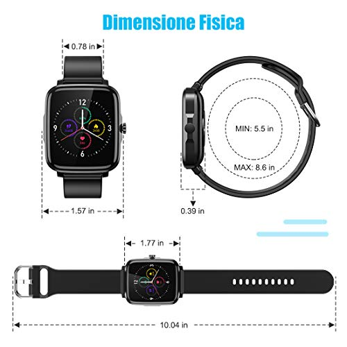 Leelbox Reloj Inteligente, Smartwatch Reloj Deportivo Impermeable con Cronómetro, Pulsómetro, Monitor de Presión, Arterial Podómetro. Monitoreo del Sueño, Calorías/ Batería14+ días miniatura