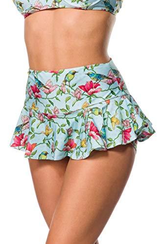 Unbekannt Elastischer Damen Bikiniunterteil Baderock Baderöckchen ausgestellt Beinausschnitt und Vögel Blüten Blumen Muster Türkis bunt Minrock mit Panty S