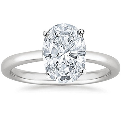 1 Ct Oval Cut Solitaire Diamond Engagement Ring 14K White Gold (I Color VS2 Clarity)