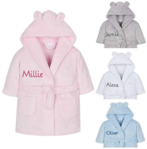 Personalised Embroidered Baby Bath Robe Dressing Gown Soft Gift Pink/Blue/White Teddy Ears Boy Girl Present 0-24 Months