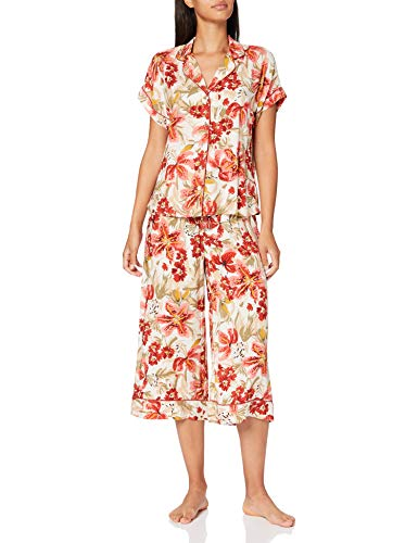 Pijama camisero estampado tropical, Talla XS