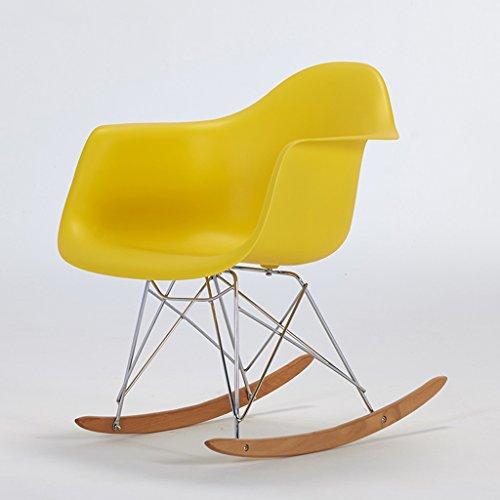 HLQW Balkon Schaukelstuhl für Erwachsene Recliner Leisure Chair Eames Zurück Schaukelstuhl Easy Chair Lazy Chair (Color : Yellow)