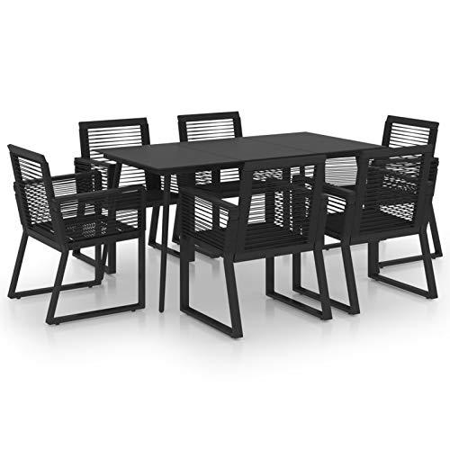 Tidyard Conjuntos de Muebles de jardín Juego de Comedor de jardín 7 Piezas ratán PVC Negro