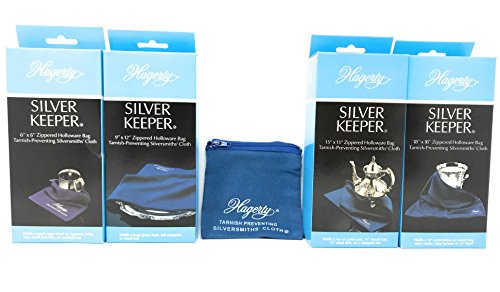 Hagerty Set Of 5 Anti Tarnish Silver Keeper Silversmith Bags With Tips On Silver Storage
