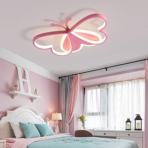 36W LED Deckenleuchte Dimmbar Deckenlampe Junge und Mädchen Zimmer Lampe Kindergarten Schlafzimmer Wohnzimmer Lampen Modern Warmes Romantische Schmetterling Deckenbeleuchtung L50cm×W36cm×H6cm,Rosa
