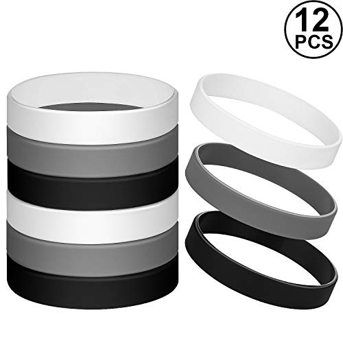 Jovitec 12 Pieces Rubber Bracelets, Solid Color Silicone Wristbands, Multi-Pack Blank Wristbands Bracelets for Events Rubber Bands Party (Black, White, Gray)