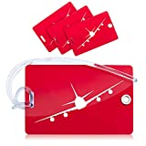 <span class='highlight'><span class='highlight'>OCTiLUX</span></span> Luggage Tags for Travel Suitcase PVC with Flexible Loop 4 Pack Red