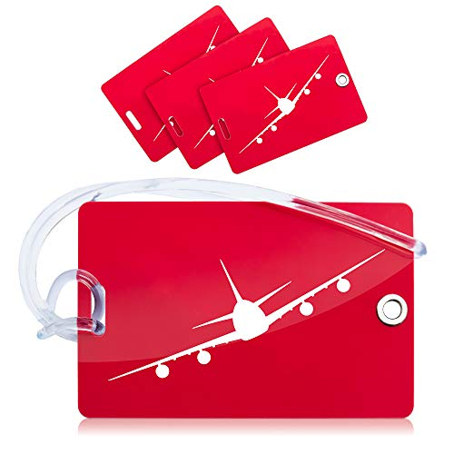 OCTiLUX Luggage Tags for Travel Suitcase PVC with Flexible Loop 4 Pack Red