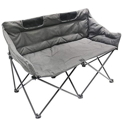 Homecall - Opvouwbare campingstoel met gevulde, dubbele zitting - (grijs)