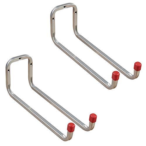 Gedotec Gerätehalter Metall Leiterhaken Wand-Haken Garage - DUO | Stahl verzinkt | Doppel-Haken lang | Tiefe: 325 mm | Ordnungshaken zum Schrauben für Wand-Montage | 2 Stück - Universalhaken 2-fach