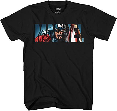 Marvel Logo Captain America Avengers Super Hero Adult Graphic Men's T-Shirt (Black, Large)