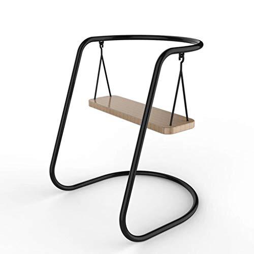 HE-XSHDTT Base De Metal Asiento Colgante Silla Individual Silla con Forma De Columpio Utilizada para Sala De Estar, Jardín, Ocio, Vacaciones,Negro