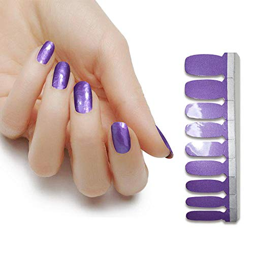 Nail Sticker Nail Film Classic Pearlescent High Brightness Nail Polish Film Auto-Adhesive Nail Art Decals Strips Wraps Manucure 1 Feuilles 18 Pcs-Pourpre