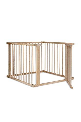dibea BP00580, Andaderas de Bebé, Parque de madera (68 cm alto), 4 elementos (a 90x65 cm) incl puerta