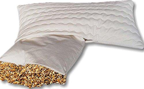 Nat Bio Dinkelkissen Komfort 40 x 60 cm staubdichte Baumwoll Kissenhülle (Kissen-Inlett) - mit Bio Dinkelspelz/Dinkelspreu Füllung und abnehmbarem waschbarem Komfortbezug Baumwolle mit Reißverschluss