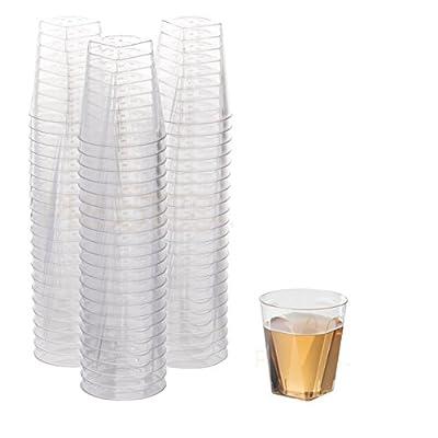 100 Clear Plastic Shot Glasses 2 OZ - Disposable Shot Glasses Bulk - Wine Tasting Cups - Small Plastic Tumbler - Square Shooter, Whiskey Mini Shot Cups - small plastic cups bulk