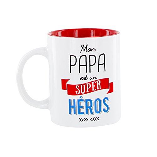 DITES LE AVEC DES MOTS MO0554 Mug Papa M12 Céramique Rouge 12 x 8,20 x 9,70 cm