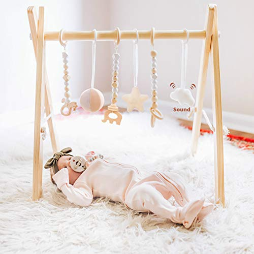 funny supply Wooden Baby Gym with 6 Gym Toys Foldable Baby Play Gym Frame Activity Center Hanging Bar Newborn Gift