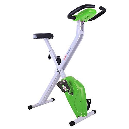 HOMCOM Bicicleta Estática Plegable Bicicleta de Ciclismo Vertical con Resistencia de 8 Niveles Pantalla LCD Asiento Ajustable Soporta hasta 110 kg 83x43x110 cm Verde