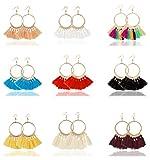 YOVORO 9 Pairs Tassel Hoop Earrings for Women Girls Dangle Drop Earrings Fan Shape Bohemian Earrings Set