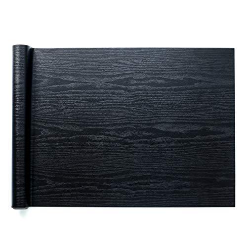 Homein Vinilos para Muebles Negro, Papel Pintado Autoadhesivo, Vinilos Cocina/Pared/Armario/Baño, Papel Adhesivo Impermeable y a Prueba de Polvo, PVC Rollo 60x200cm