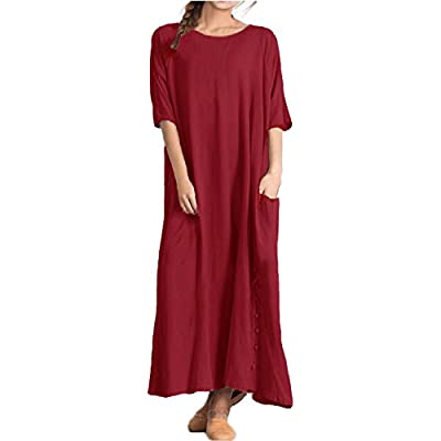 Womens Short Sleeve Cotton Linen V Neck Loose Casual Maxi Dress Summer Kaftan UK