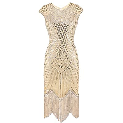 EAST-BIRD Women's 1920s Flapper Dress Crystal Beaded Sequin Embellished Fringed Gatsby Dress For Prom