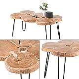 Stella Trading COLE Couchtisch Baumscheibe Akazie Massivholz mit schwarzem Metallgestell - natürlicher Sofatisch für Ihren Wohnbereich - 100 x 45 x 65 cm (B/H/T) - 5