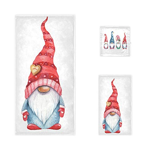 Cute Christmas Gnomes Bath Towels Set of 3 Christmas Home Bathroom Decor Watercolor Xmas Hand Towel Cotton Soft Guest Washcloth Thin for Kitchen Swim Pool Spa Gym Yoga Hotel Gifts
