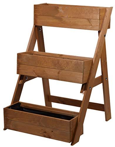 dobar 29420FSC Escalera Tres Niveles para un diseño Individual, jardineras con lámina para Plantas, 60 x 70 x 90 cm, Pino, marrón