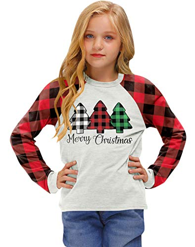 BesserBay Little Girls Christmas Tree Shirt Xmas Plaid Raglan Sleeve Tshirt 5-6 Years