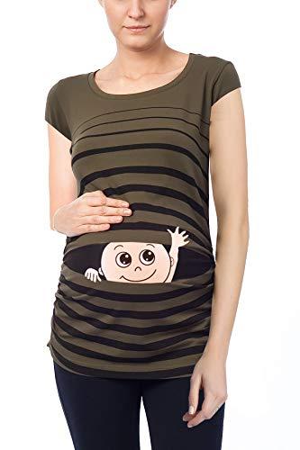 Hola bebé - Ropa premamá Divertida y Adorable, Camiseta con Estampado, Regalo Durante el Embarazo, Manga Corta (Caqui, Large)