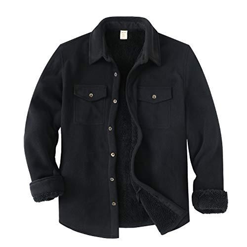 ZENTHACE Men's Warm Sherpa Lined Fleece Plaid Flannel Shirt Jacket(All Sherpa Fleece Lined)Black M
