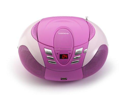 Lenco Radio mit CD/MP3-Player SCD-37 Tragbares UKW/MW Radio mit USB (Teleskopantenne, USB), rosa