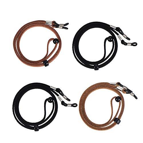 Ukainiemai 4 Stück Brillenband Seil Verstellbar PU Leder Brillen Kordel Halter Brillen Kordel Brillen Seil (2Black2Brown)